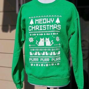 Meowy Christmas, ugly Christmas sweater sz Sm